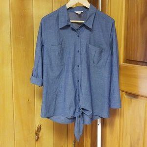 LOFT Blue-Gray Button Down Shirt
